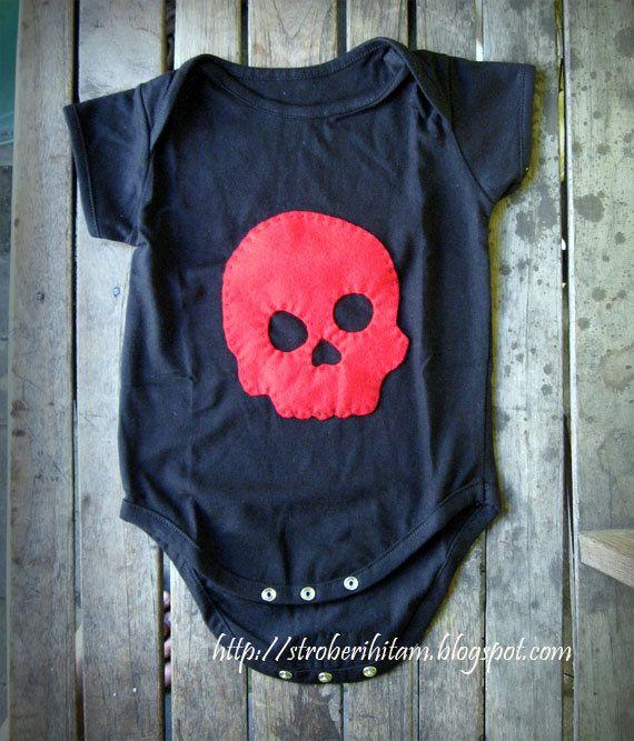 Red skull on black rockin baby onesie by stroberiHITAM on Etsy, $12.00