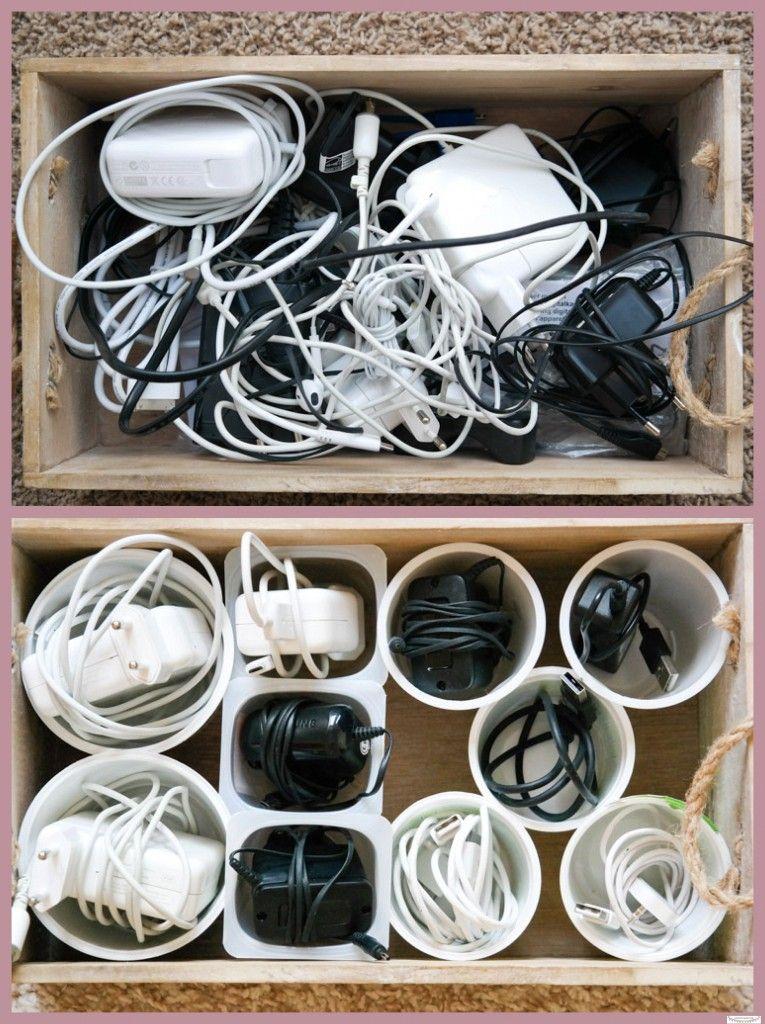 kabel mit hilfe von joghurtbechern ordnen und organisieren. Black Bedroom Furniture Sets. Home Design Ideas