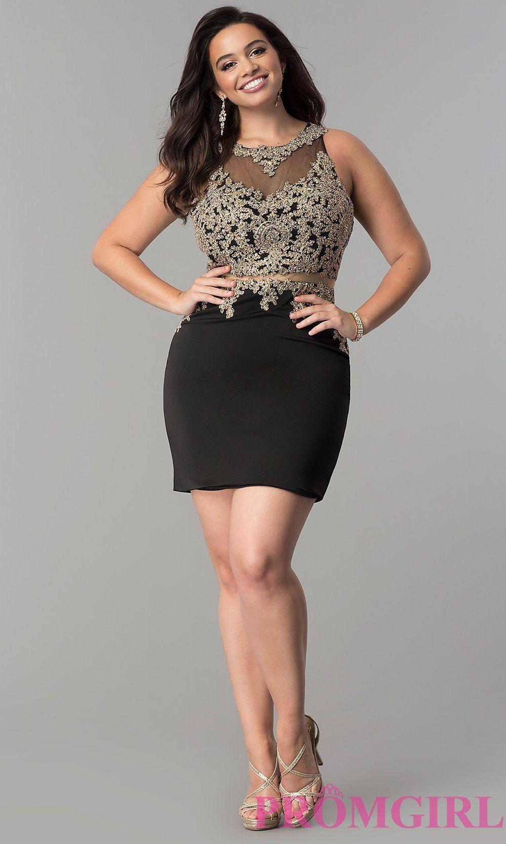 f8d972d6ba4 Plus-Size Short Mock Two-Piece Party Dress - PromGirl