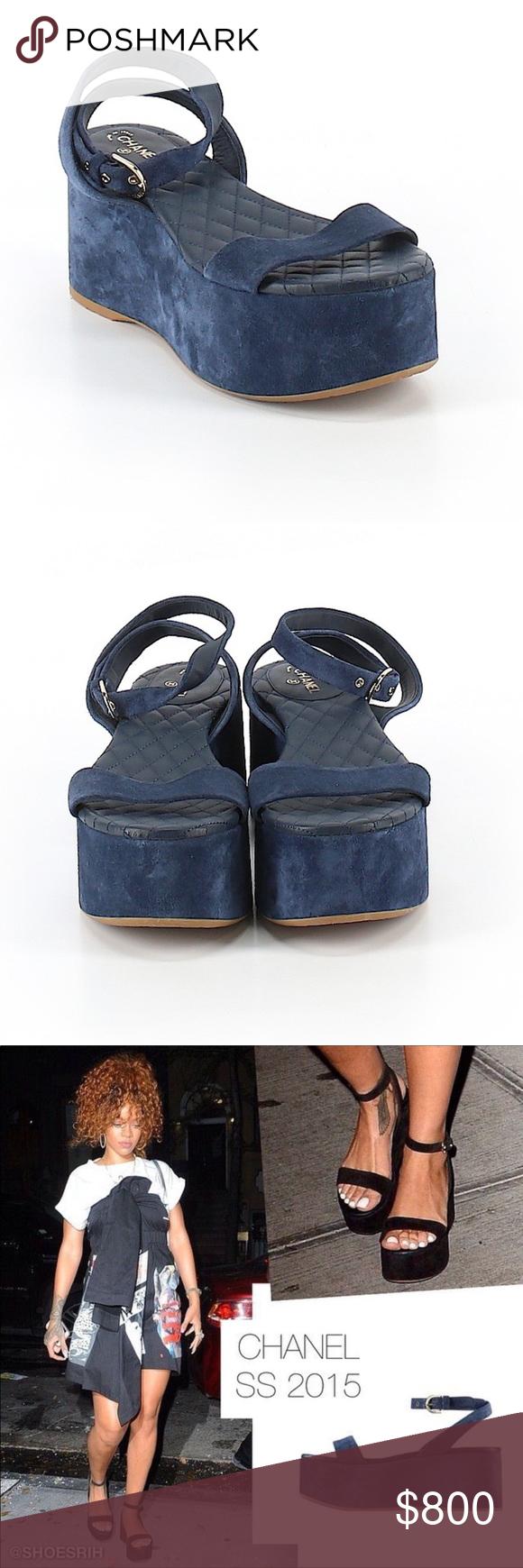 blue suede platform sandals