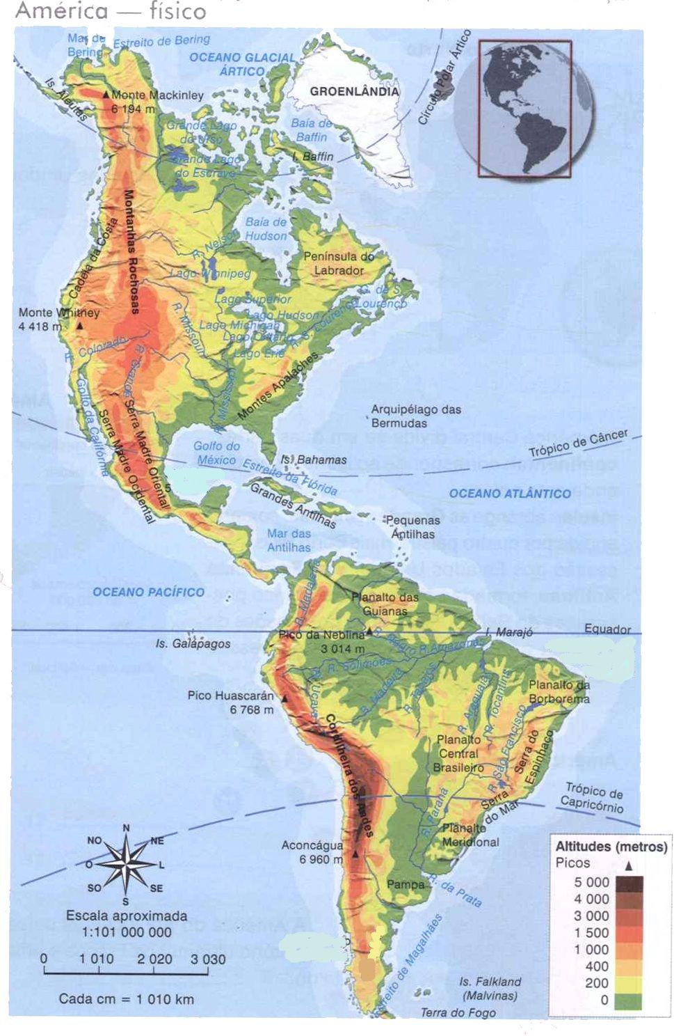 Mapa Fisico De America.Mapa De America Mapa Fisico Geografico Politico