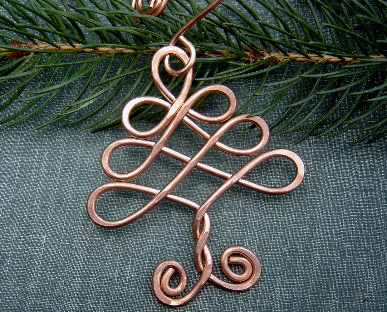 Celtic tree ornament copper ornament christmas tree ornament
