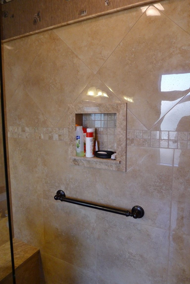 Carmel Travertine Shower Sills Bull Nose Around Top Edge Of Tile Trimmed Soap Niche Polished