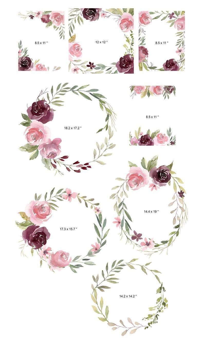 Watercolor Floral Clipart Frames Wreaths Light Blush Pink