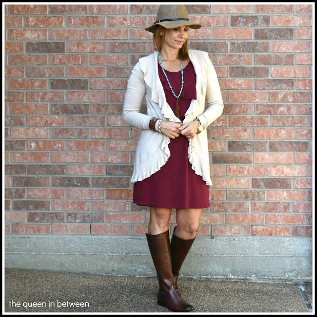 Transition to fall with a fun cardigan over a simple dress;  Queeninbetween.blogspot.com