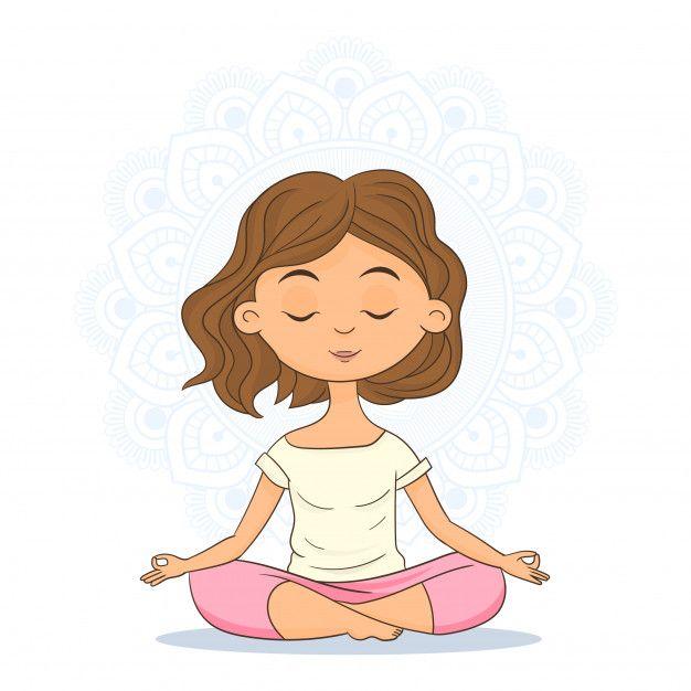Mulher, Sentando, Em, Posição Ioga, E, Meditar en 2020 ...