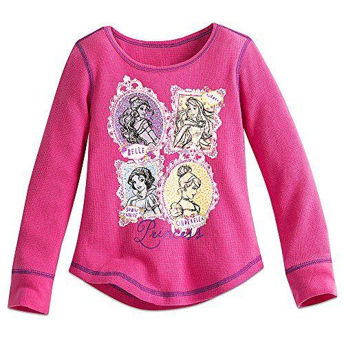Disney Store Princess Ariel Rapunzel Belle Long Sleeve Thermal T Shirt Girl 5//6
