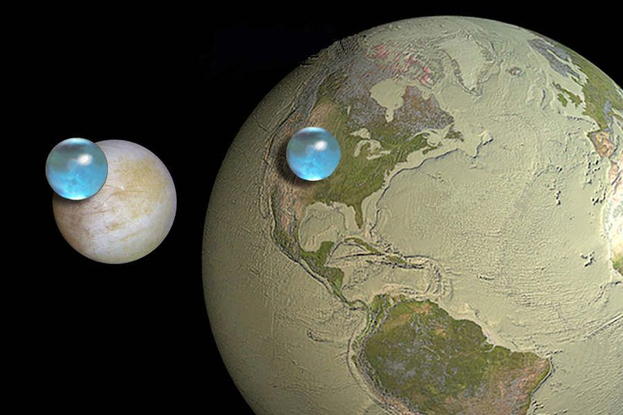 All the Water on Earth and Europa Compared