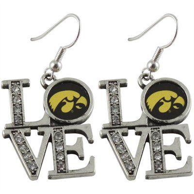 Iowa Hawkeyes Ladies Rhinestone Love Dangle Earrings