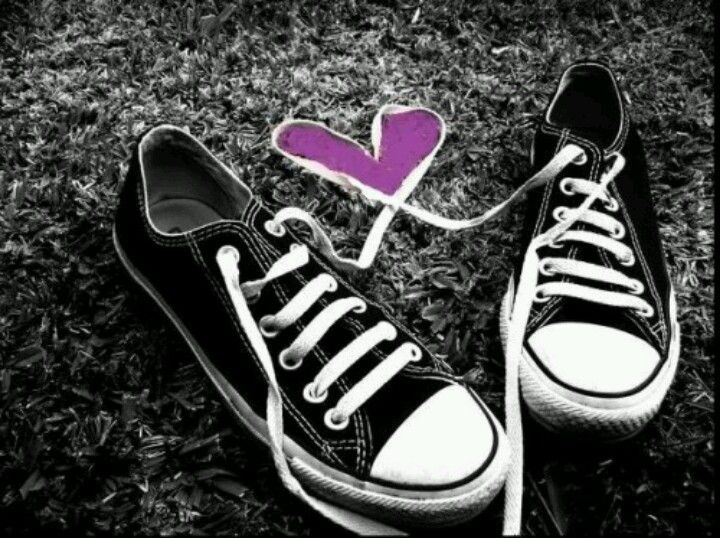 Converse with purple heart