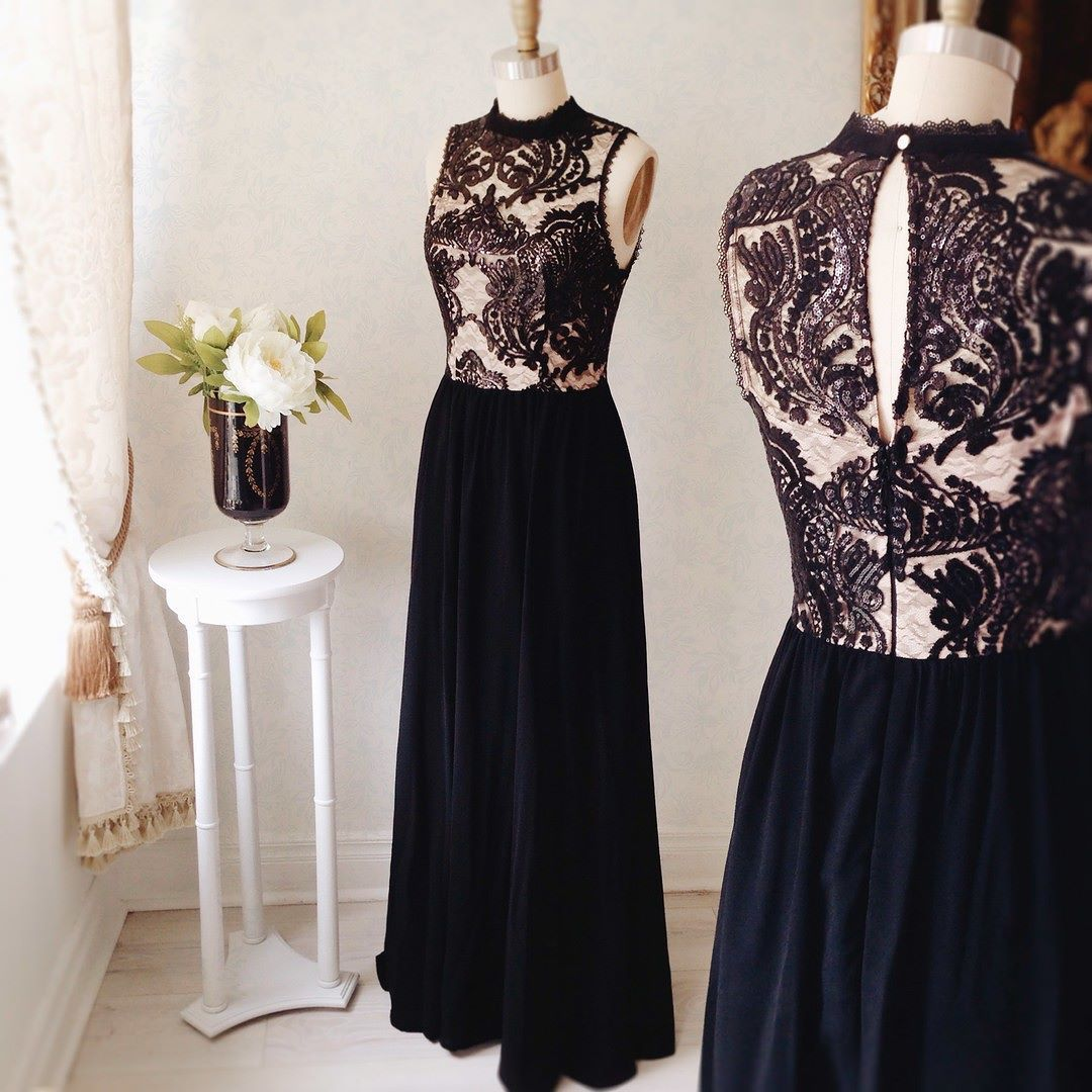 Sileas Orage #Boutique1861 - Also in pink - You're never wrong with a black dress with lace ! #promdresses #bridemaids