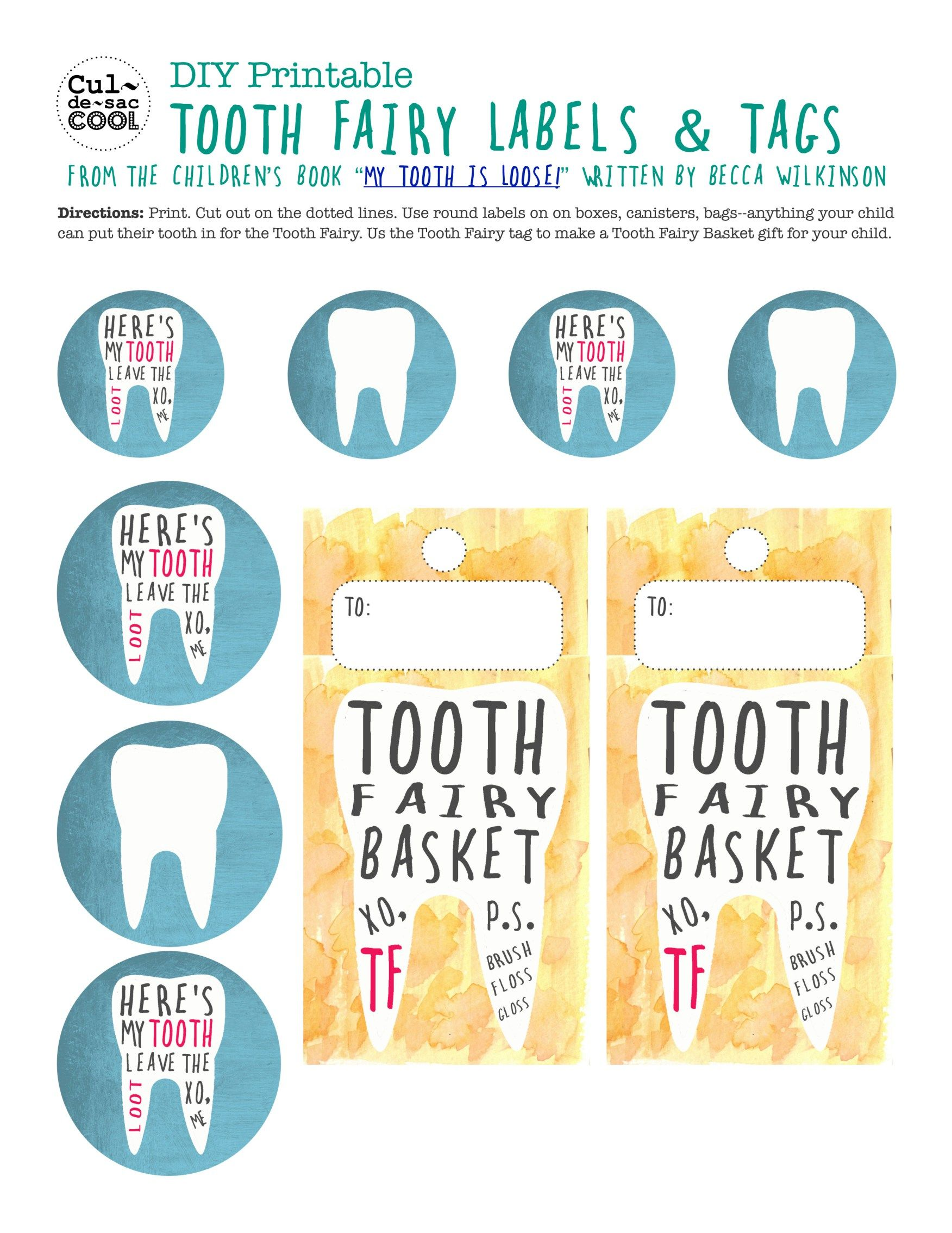 Diy Printable Tooth Fairy Labels Amp Tags From The Children