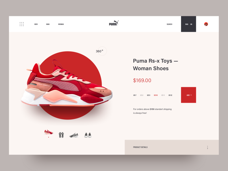 superior quality 40245 c284d Puma sneaker shop. design illustration layout 2018 clean landing page  interaction awsmd e commerce shoes store shop creative ux ui puma