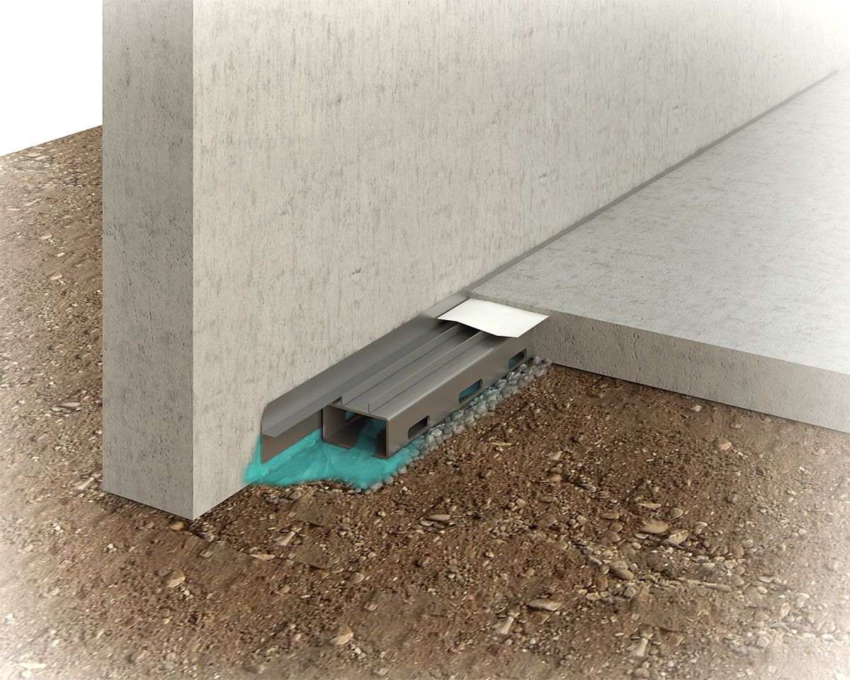 This Image Shows The Basement Waterproofing Track System With No Footing Waterproofing Basement Wet Basement Basement