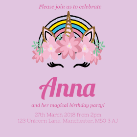 send unicorn birthday party invites for your daughters birthday by