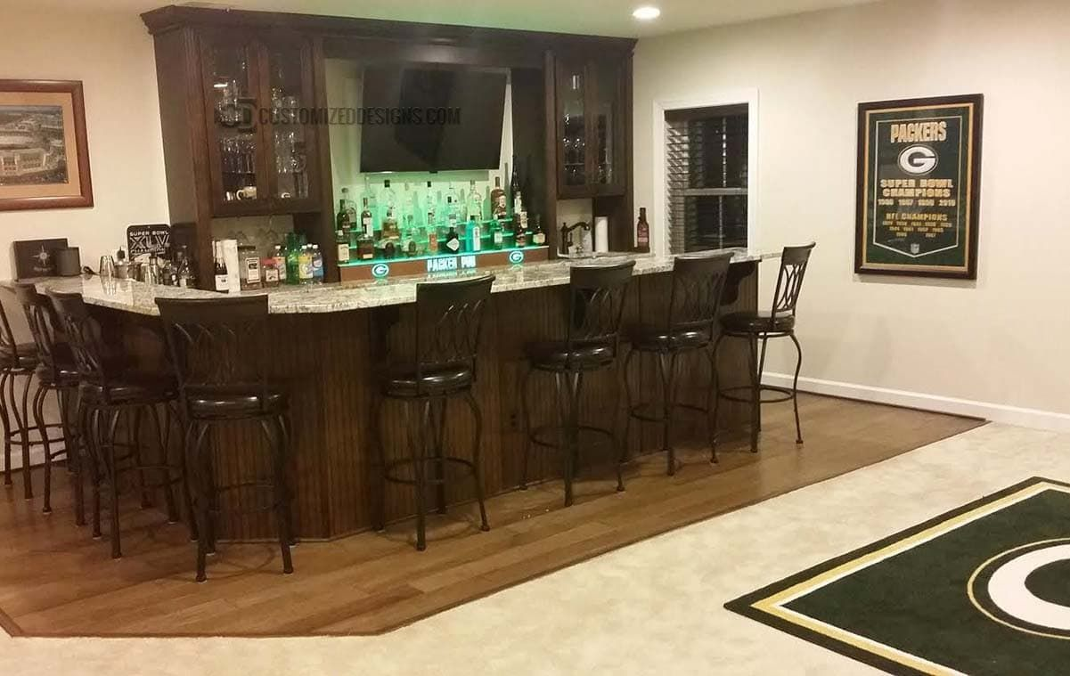 Green Bay Packers Themed Home Bar Lounge Customized Designs Home