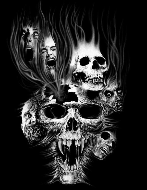 screaming skulls fire tattoos