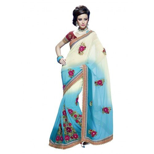 Awsome Persnality With Two Color Combination Saree
