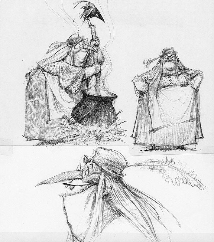 Shrek: Character Design: Carter Goodrich.  Once upon a time, they were going to have a witch in the first movie!