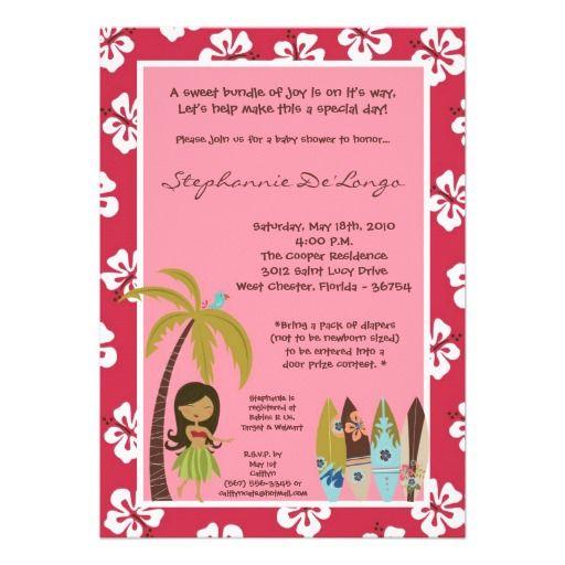 luau baby shower invitation tropical hawaiian hula party - brunch, Baby shower invitations