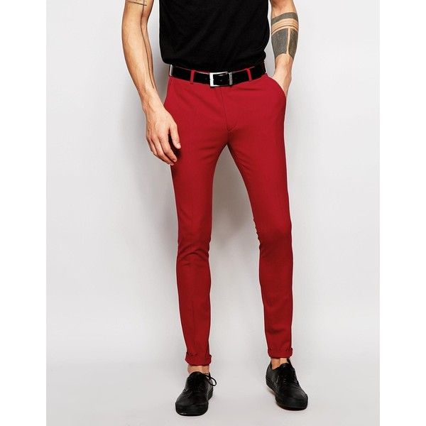 ASOS Super Skinny Suit Trousers In Red ($36) ❤ liked on Polyvore ...