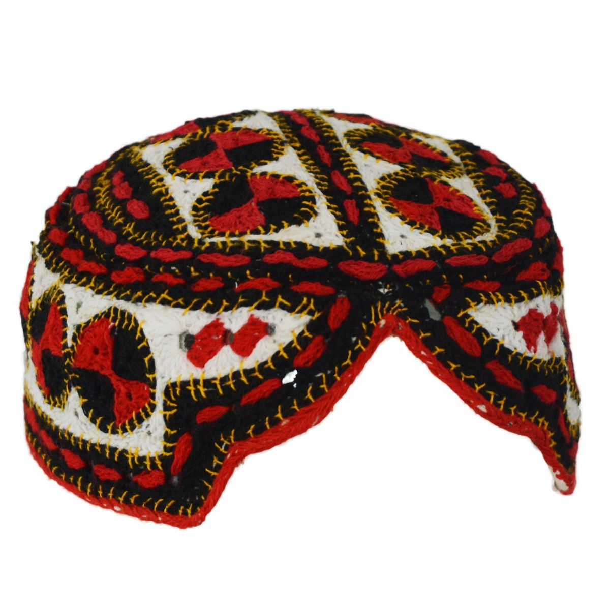 487df549e18 Sindhi Cap Shisha Embroidered Topi with Circular Multicolored Patterns