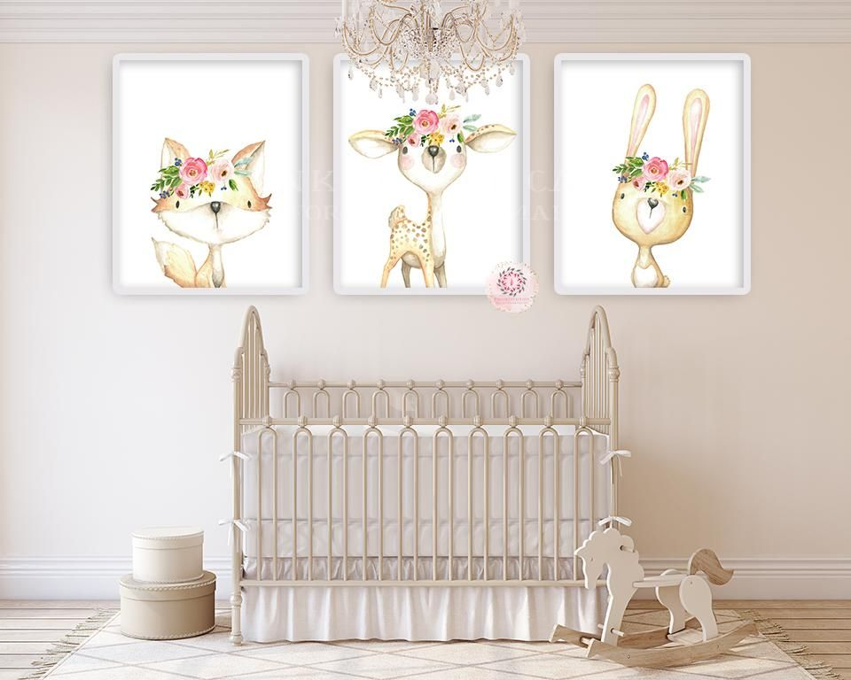 Bunny Rabbit Fl Boho Wall Art Print