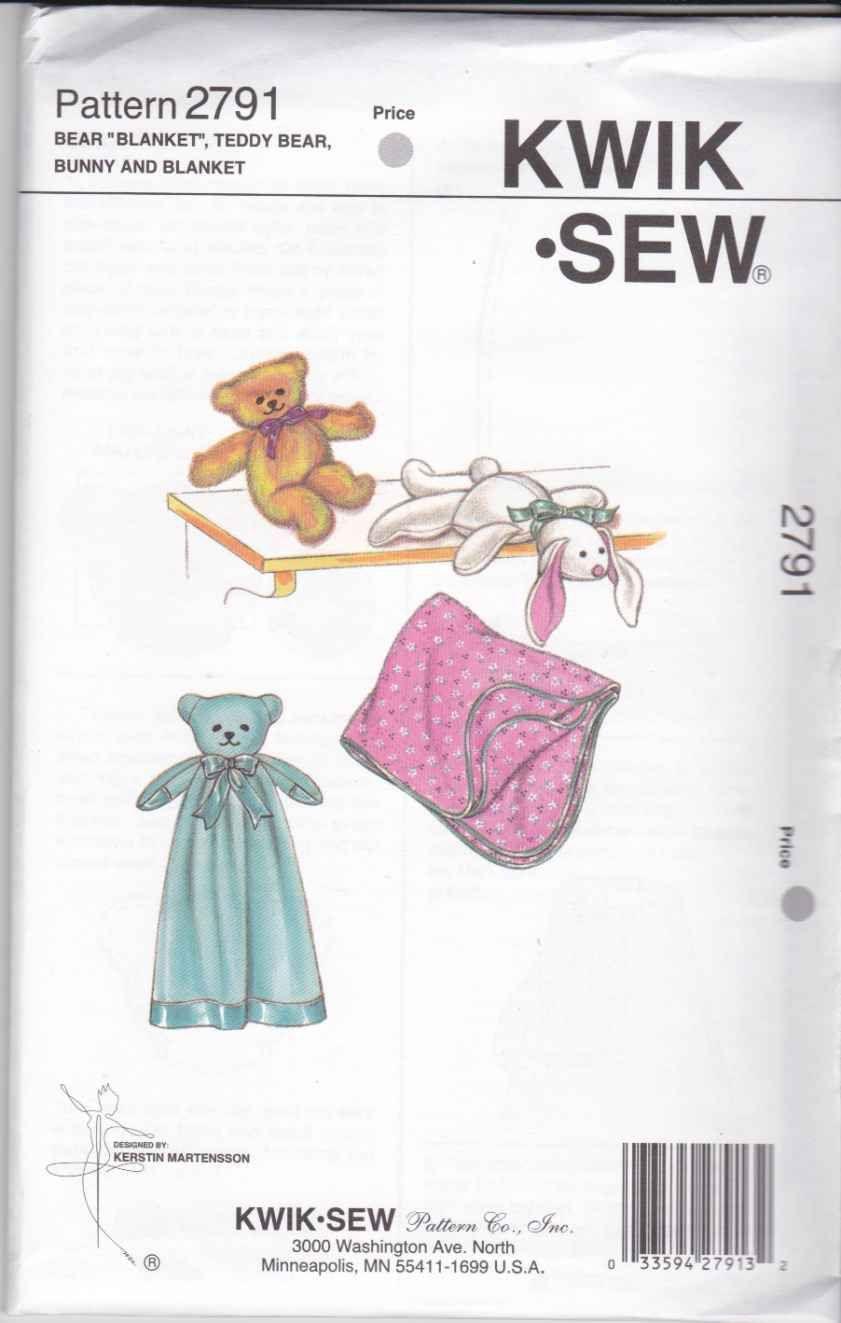 Kwik sew sewing pattern 2791 baby toys bear blanket teddy bear kwik sew sewing pattern 2791 baby toys bear blanket teddy bear bunny currently available for sale from jeuxipadfo Choice Image