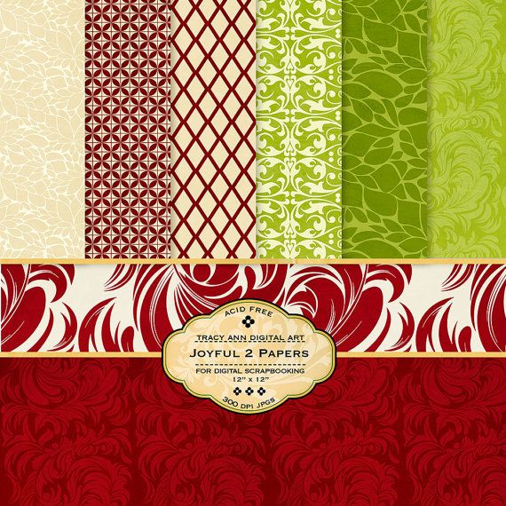 Green and Red Digital Paper pack for invites, card making, digital scrapbooking. $4.95, via Etsy.