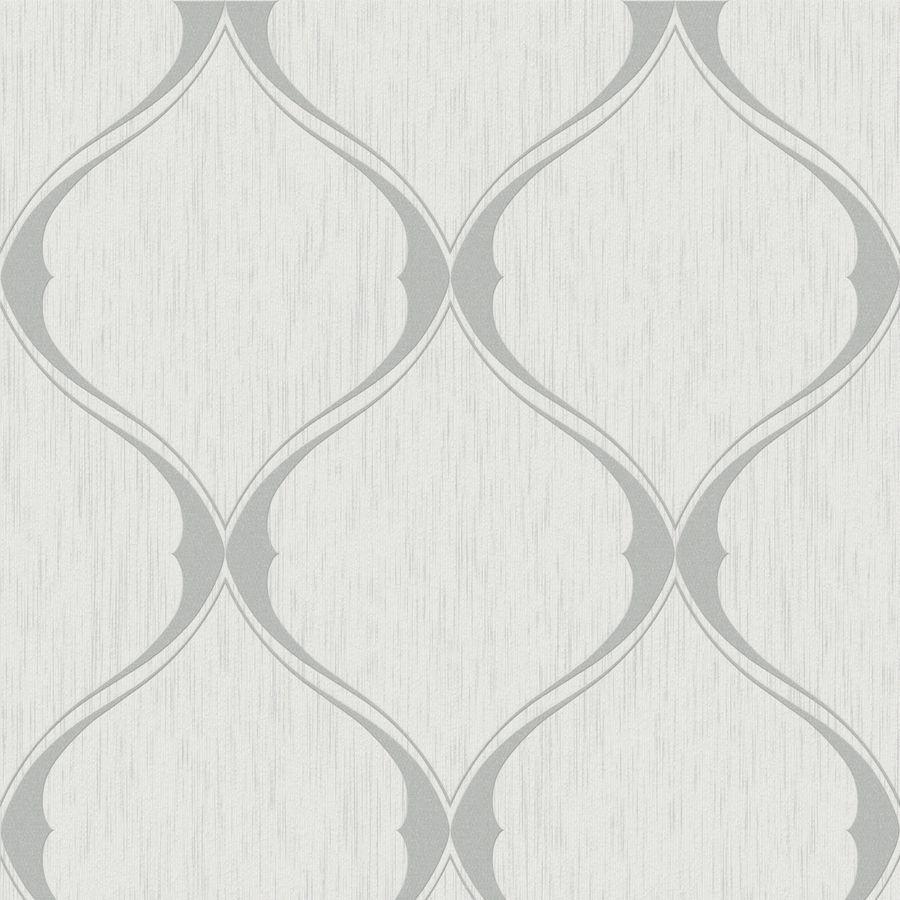 Allen Roth Timeless Gray Vinyl Textured Geometric Wallpaper
