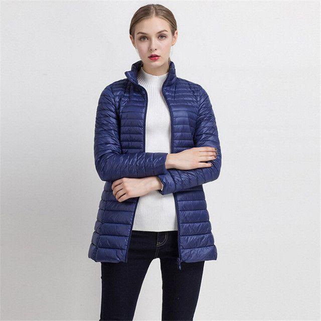 2017 Spring Warm New Women Long Thin Down Jacket Slim Korean Stand ...