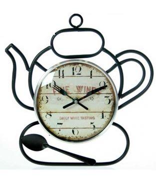 7b0b870730e4 Reloj de pared metal y cristal cafetera 32 cm