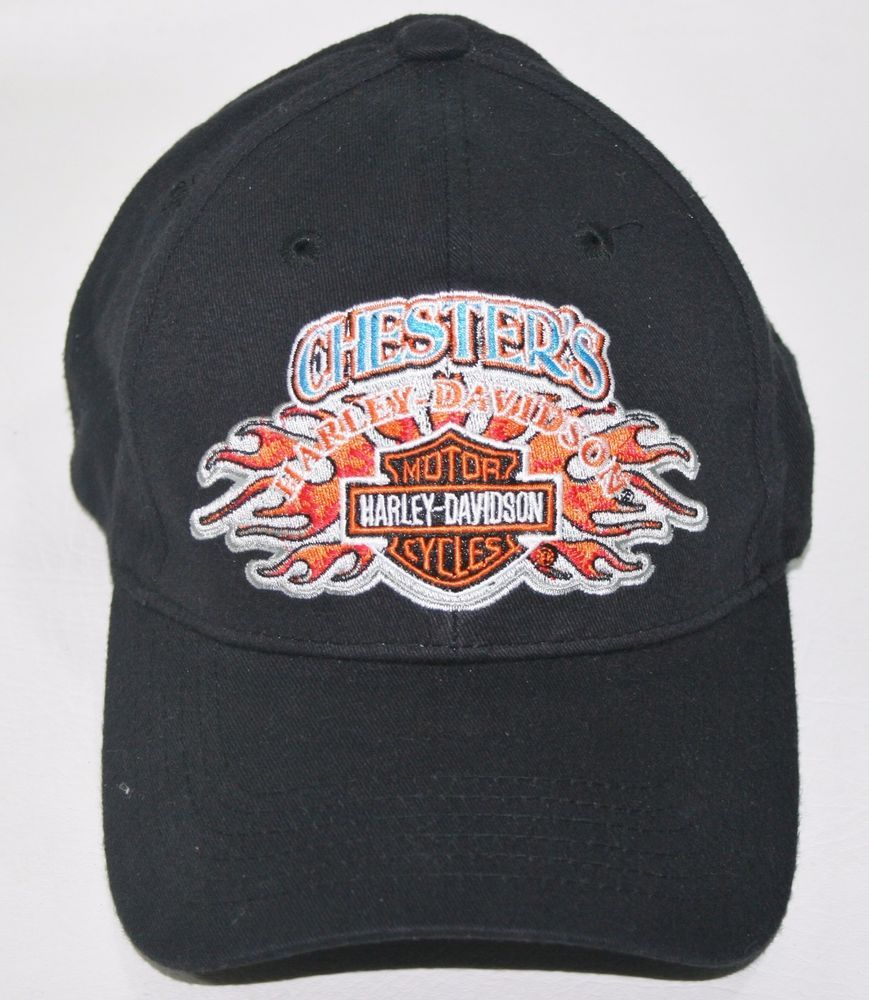 1b7d181c893 Chester s HARLEY-DAVIDSON BASEBALL CAP HAT Ride with us Mesa Arizona Shield  Fire Hats For