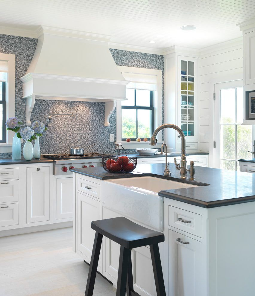 Mosaic Tile Backsplash Kitchen Beach Style With White Range Hood White  Range Hood