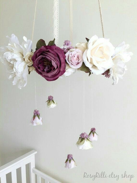 Pin by maigen parks on baby 2 pinterest nursery babies and room royal purple nursery flower mobile crib mobile baby by rosyrilli aloadofball Choice Image