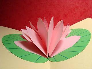 Lin Handmade Greetings Card Lotus Flower Pop Up Card Greeting Cards Handmade Flower Cards Cute Thank You Cards
