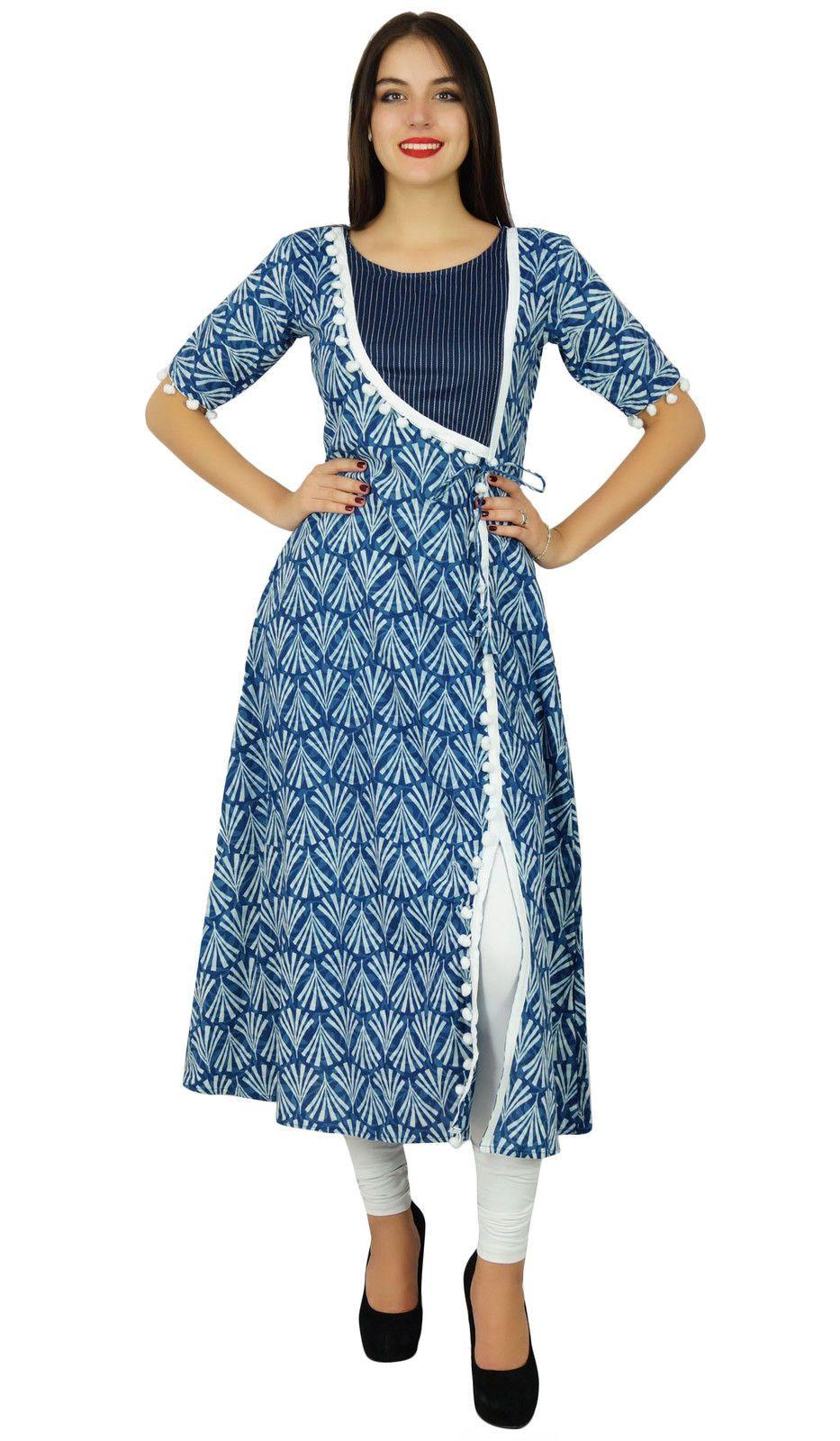 9010f11d3e Bimba Designer Angrakha Style Cotton Kurta Long A-Line Kurti Dress Indian  Women