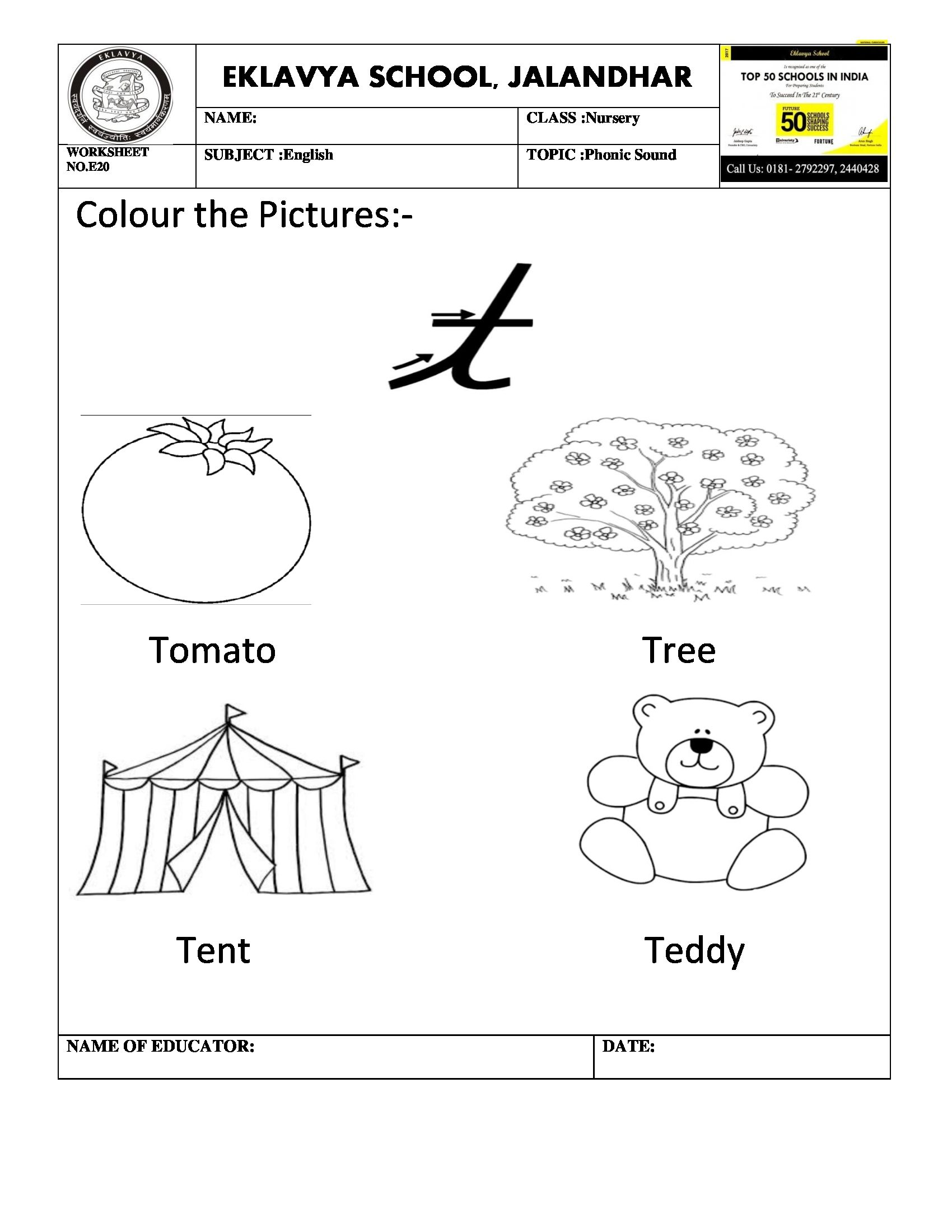 Worksheet On Phonic Sound T