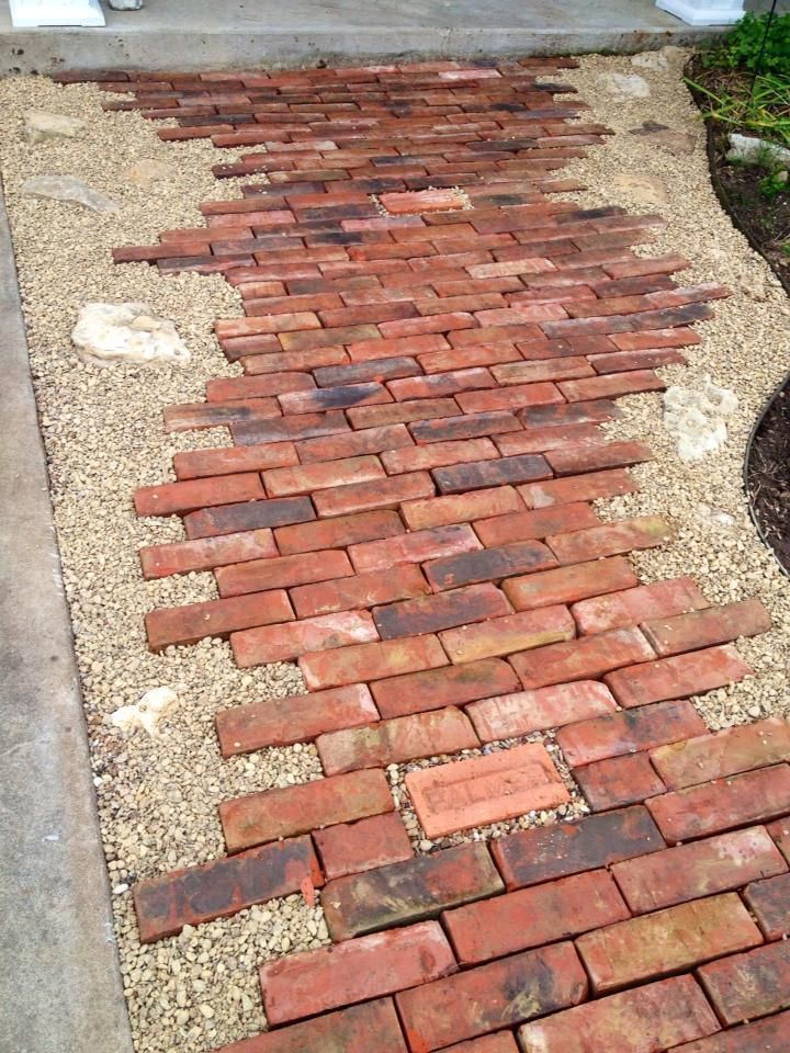 Awesome old bricks pea gravel and rocks this pathway for Uses for old bricks