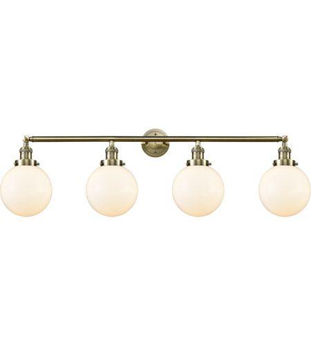 Photo of Innovations Lighting 215-AB-S-G201-8 Large Beacon 4 Light 44 Inch Antique Brass Bathroom Vanity Light Wall Lamp, Franklin Restoration