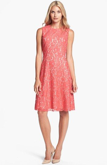 coral lace dresses for weddings Eliza J Lace Fit Flare Dress