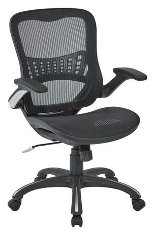 Mesh Mid Back Black Manager S Chair With Flip Arms Reclining