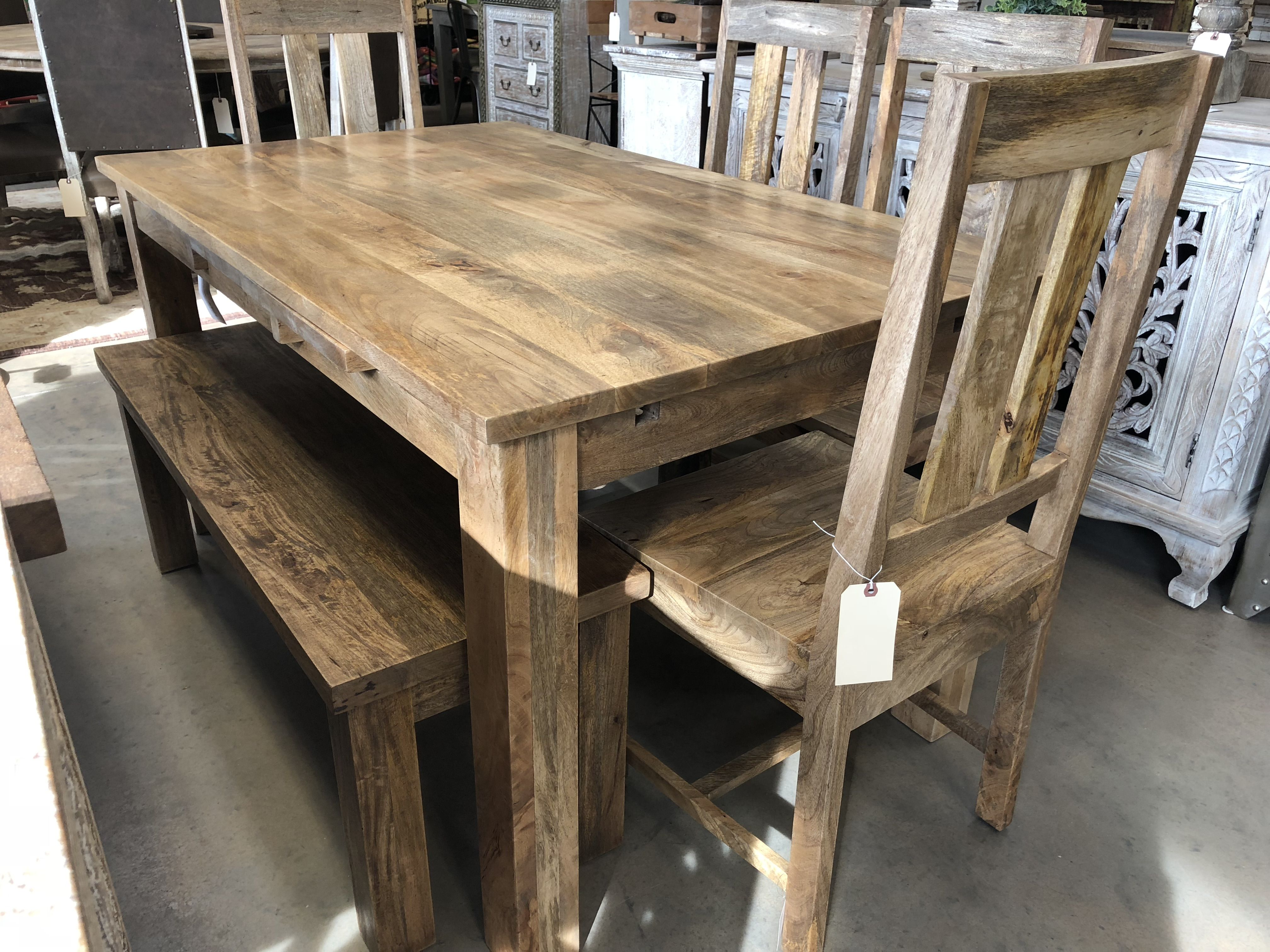Gorgeous Natural Mango Wood Dining Table With Stow Away Leafs
