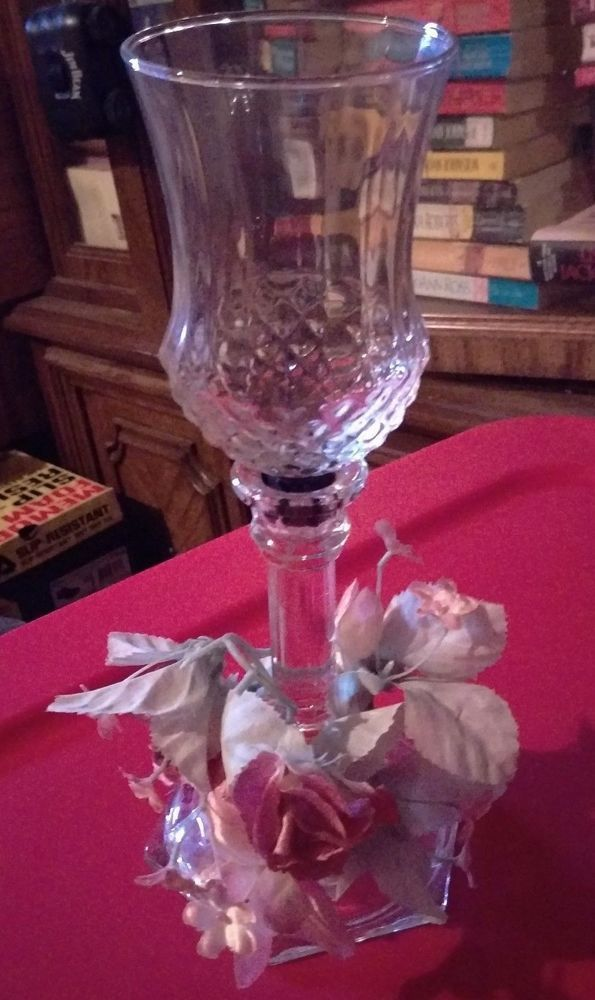Home Interior Votive Candle Holder. Clear With Flower Ring. Vintage