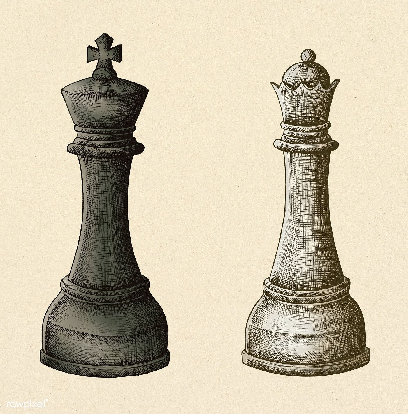 Hand Drawn Chess King And Queen Illustration Free Image By Rawpixel Com Noon Chess King Chess King And Queen How To Draw Hands