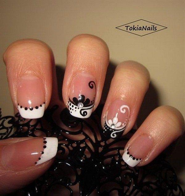 30 Stylish Black & White Nail Art Designs | White french nails ...
