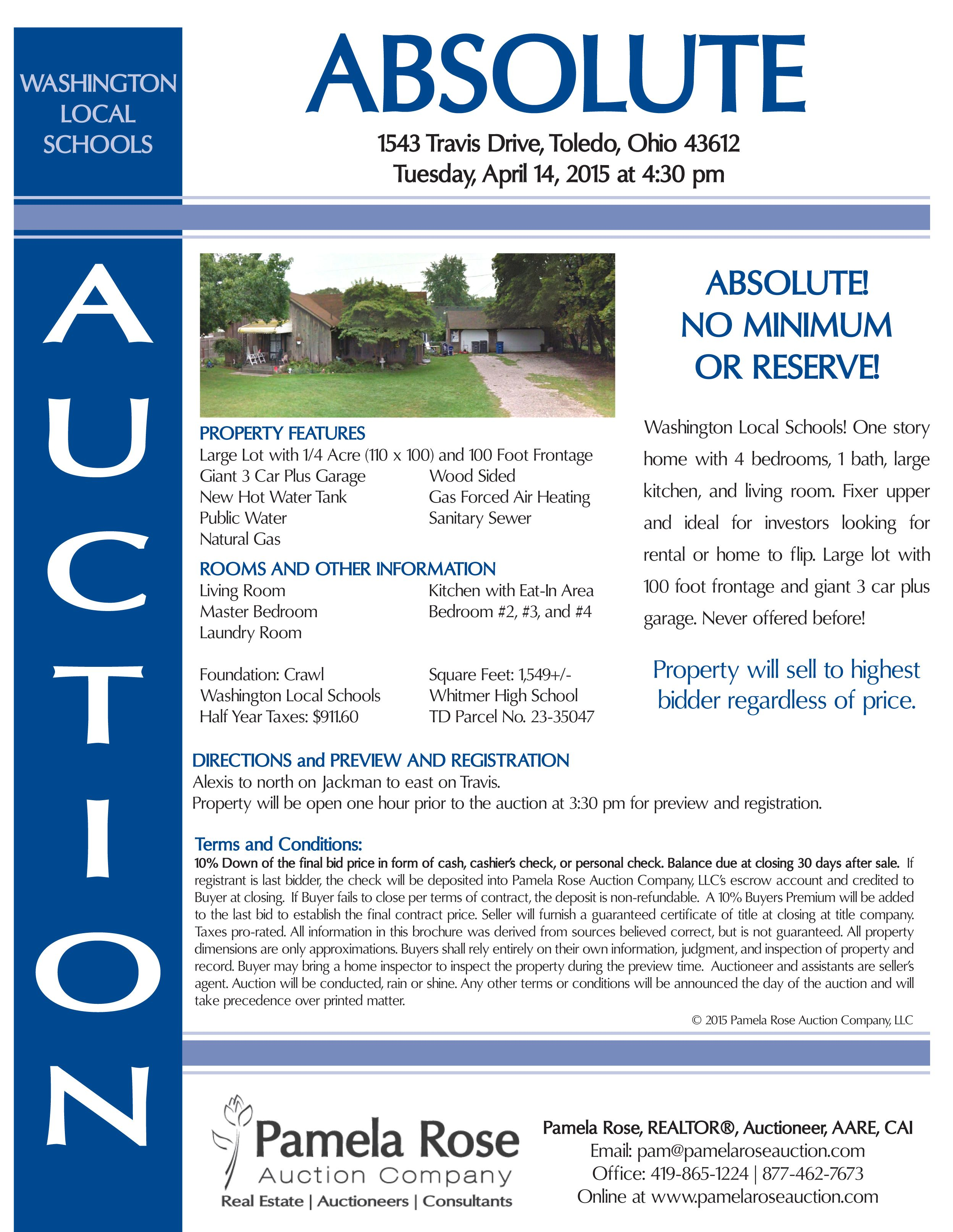 Absolute auction in washington local at 1543 travis drive