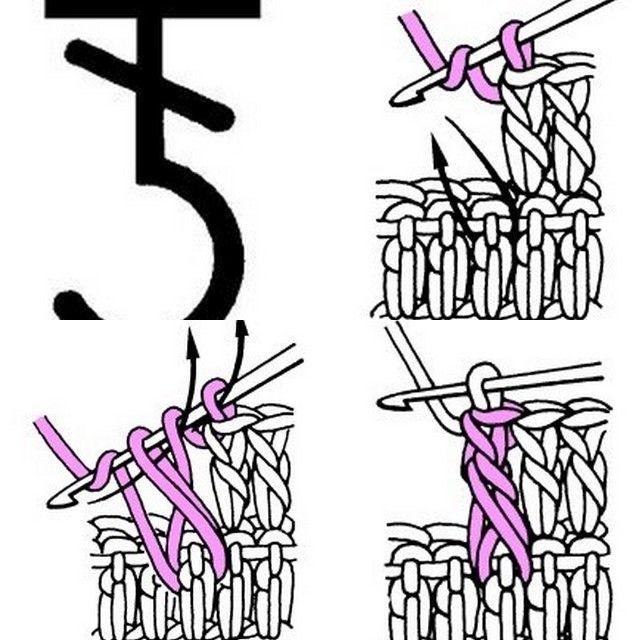 2éme image En suivant la flèche, piquer le crochet en prenant entièrement le pied de la bride du rang précédent en suivant la flèche. 3éme image Faire 1 jeté sur le crochet, le ramener à travers la bride, faire un autre jeté sur le crochet, le ramener...