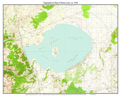 Mono Lake 1958 - Custom USGS Old Topo Map - California | California ...