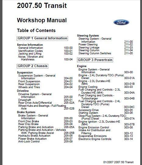Transit service repair manual | Factory Service Repair